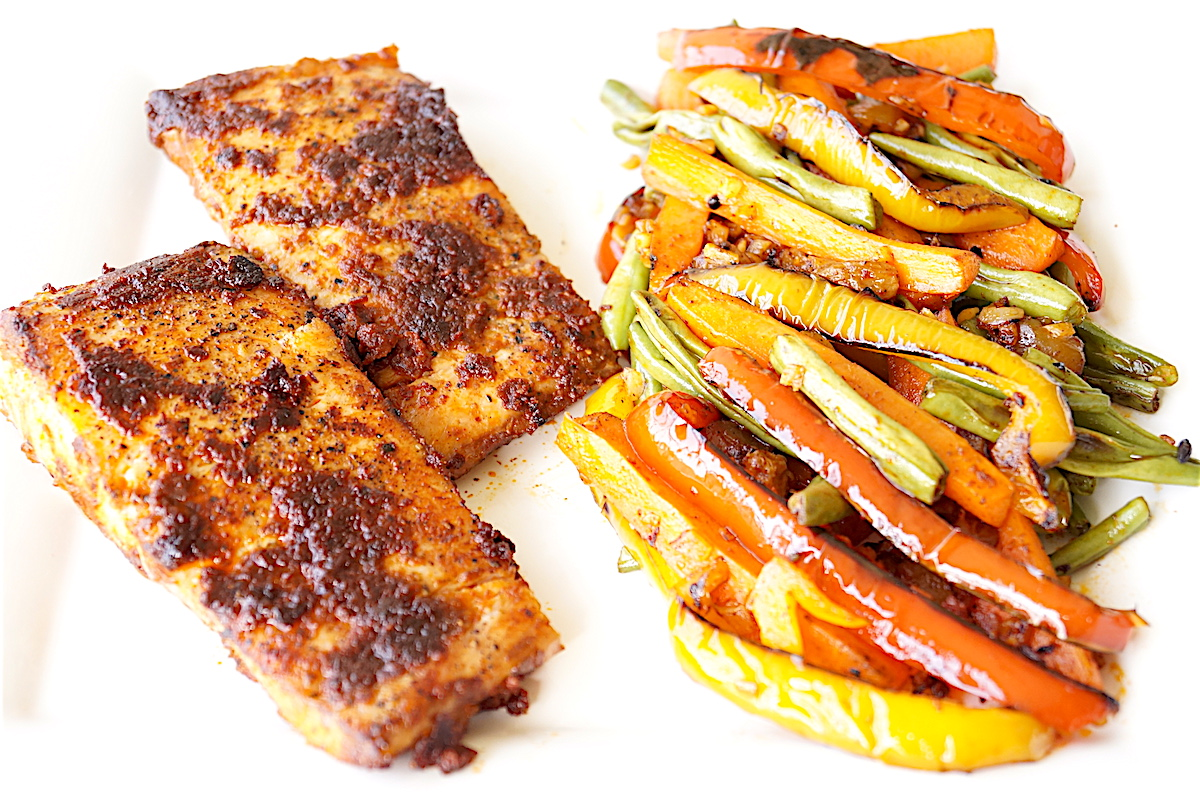 Sun-dried Tomato Grilled Fish With Charred Vegetables