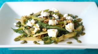 Pear, walnut, arugula salad with no-oil honey mustard dressing