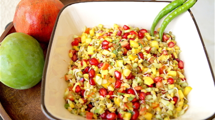 sprouts salad with raw mango and pomegranate