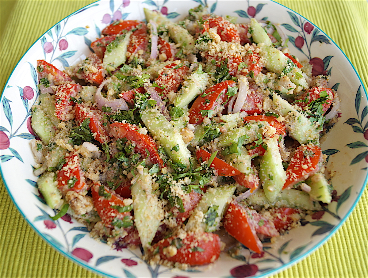 Georgian Style Salad with Walnut Dressing