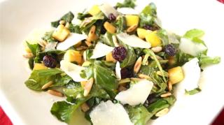 Rocket salad with apples cranberries pine nuts