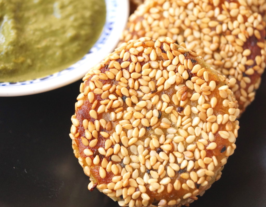 sweet potato and coconut cutlets with sesame