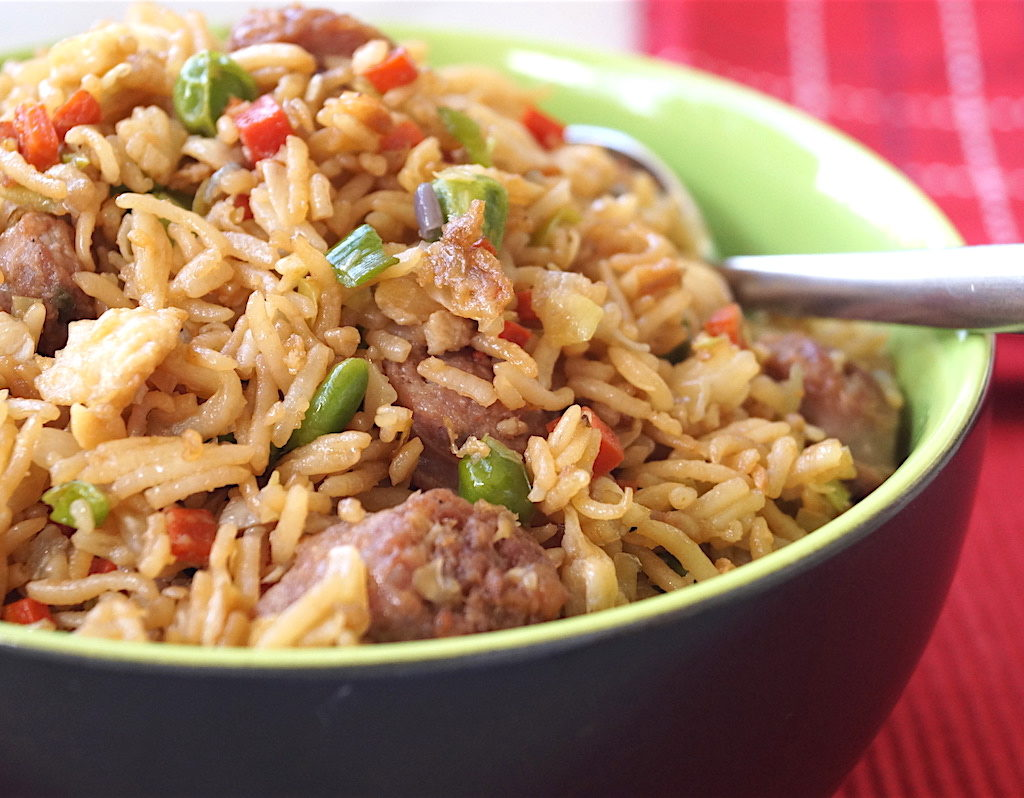 fried rice with sausage and eggs
