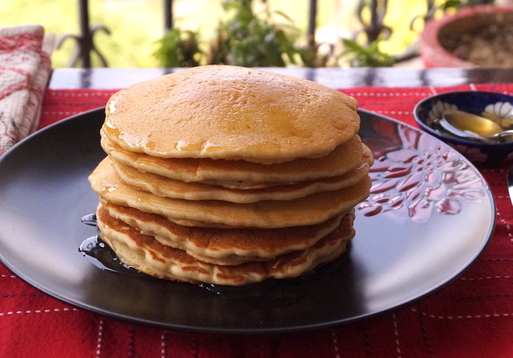 eggless pancakes with lemon and honey syrup