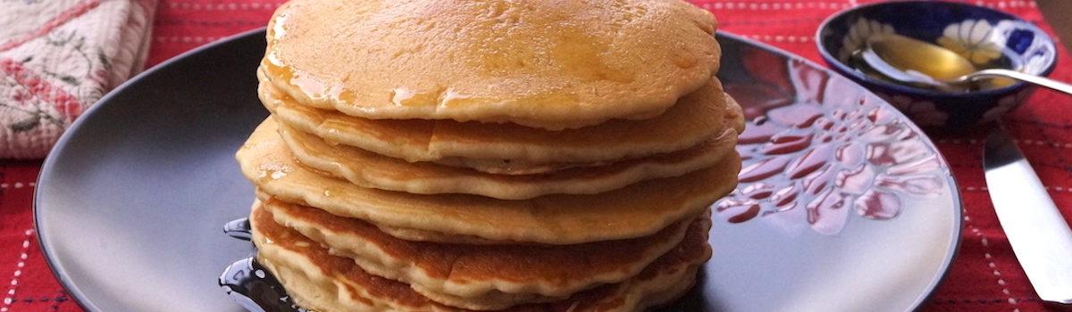 Eggless Vanilla Pancakes With Honey Lemon Syrup