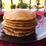 Eggless Vanilla Pancakes With Honey Lemon Syrup