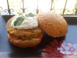 Chickpea Burger With Mint Yoghurt