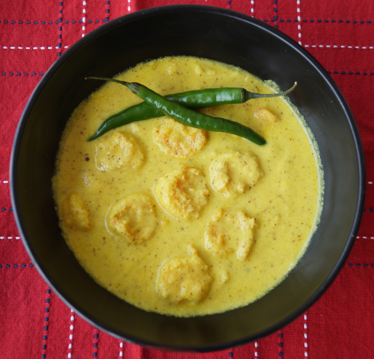 Prawn Curry With Mustard, Coconut and Mango (Shorshe Aam Chingri)