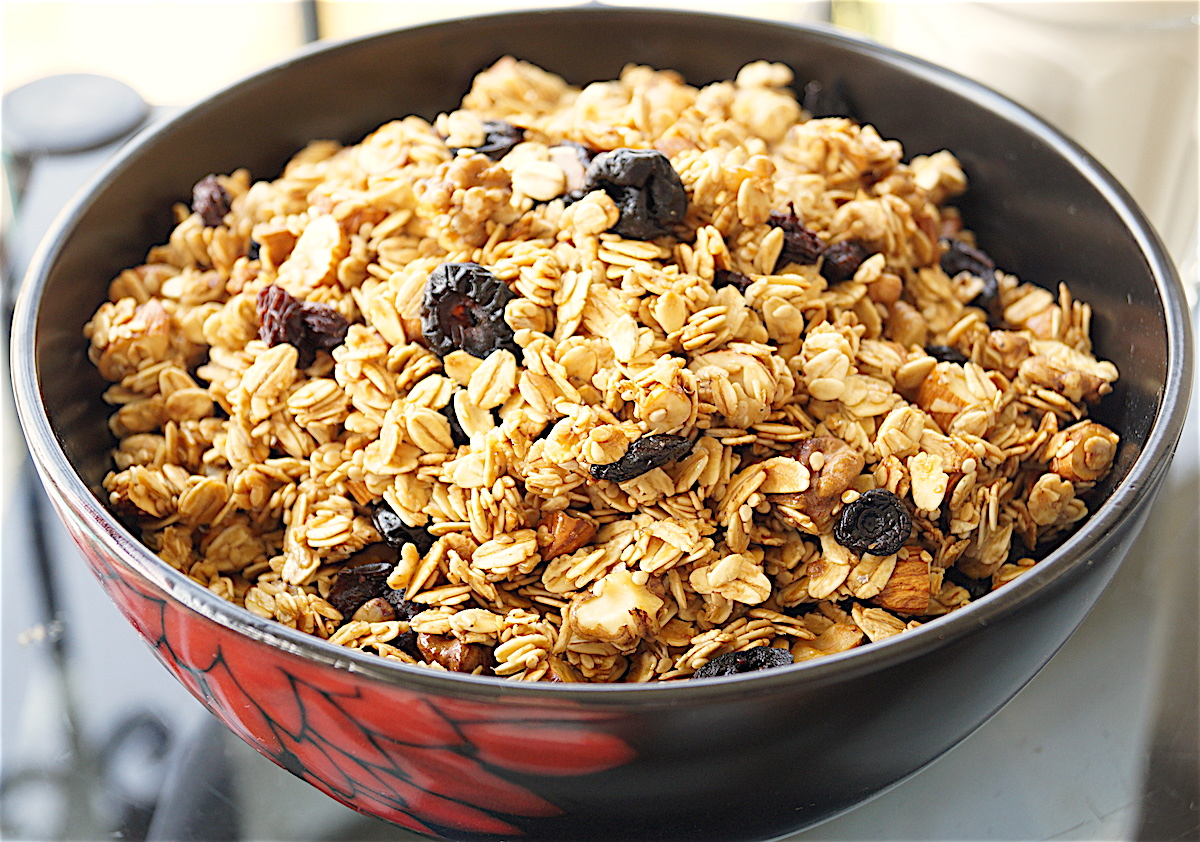 Easiest Fruit and Nut Granola (Low Fat, Oil Free)