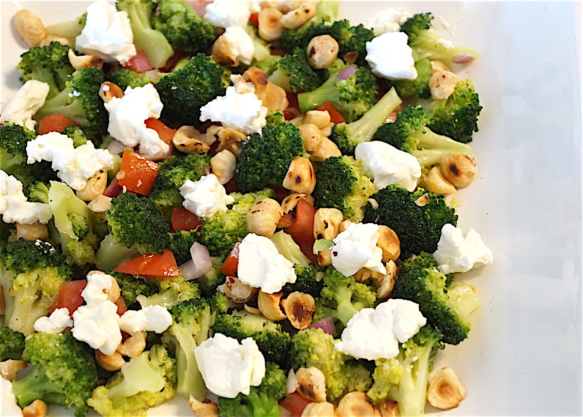 Broccoli Salad with Hazelnuts and Feta Cheese