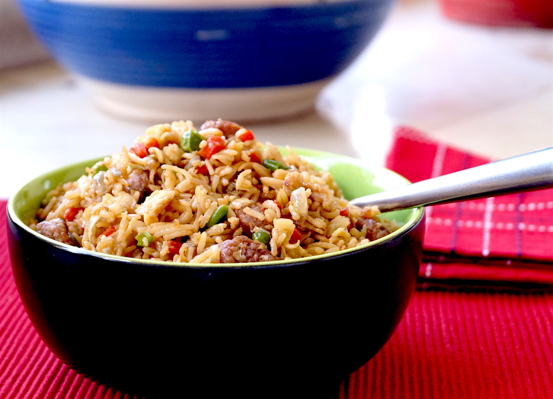fried rice with sausages and eggs