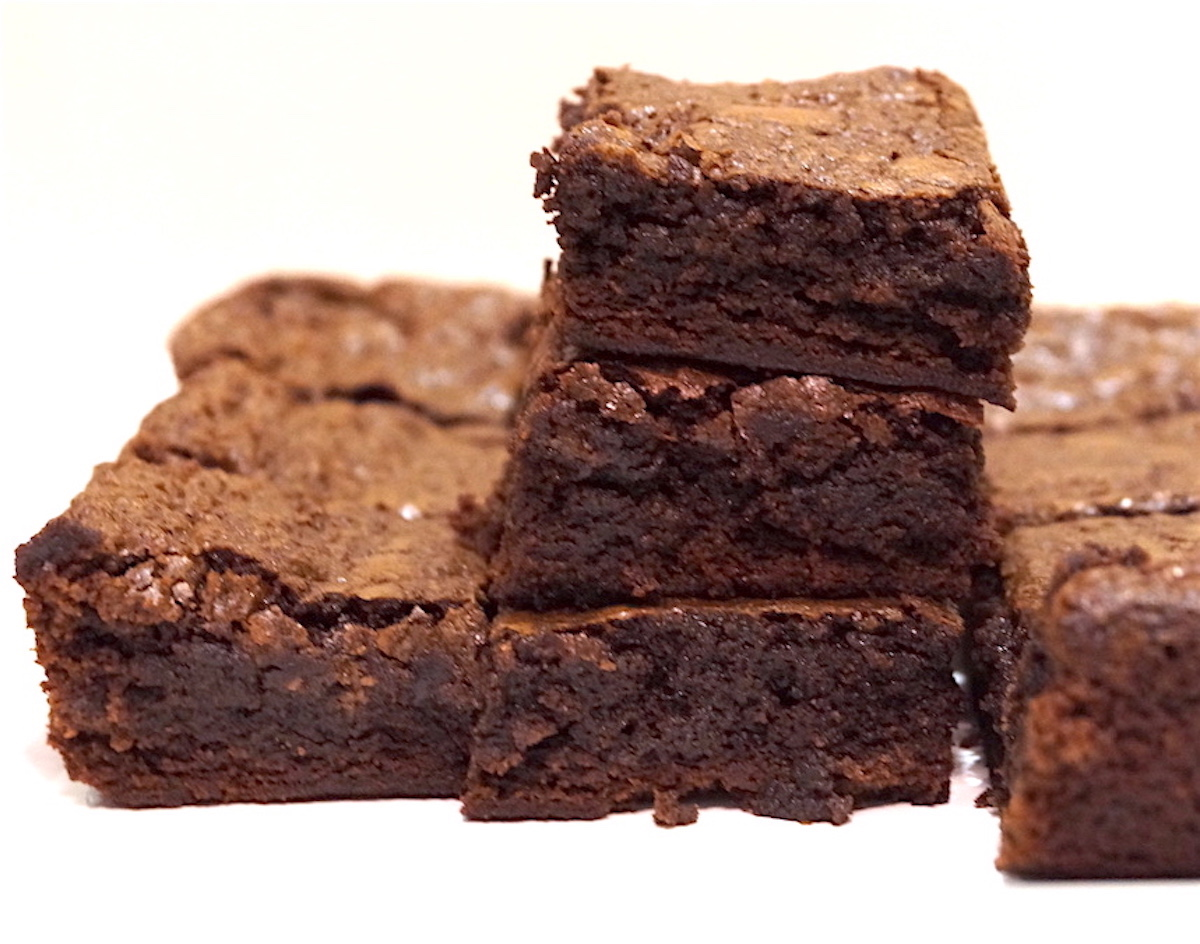 chocolate brownies with fudge exterior and gooey interior