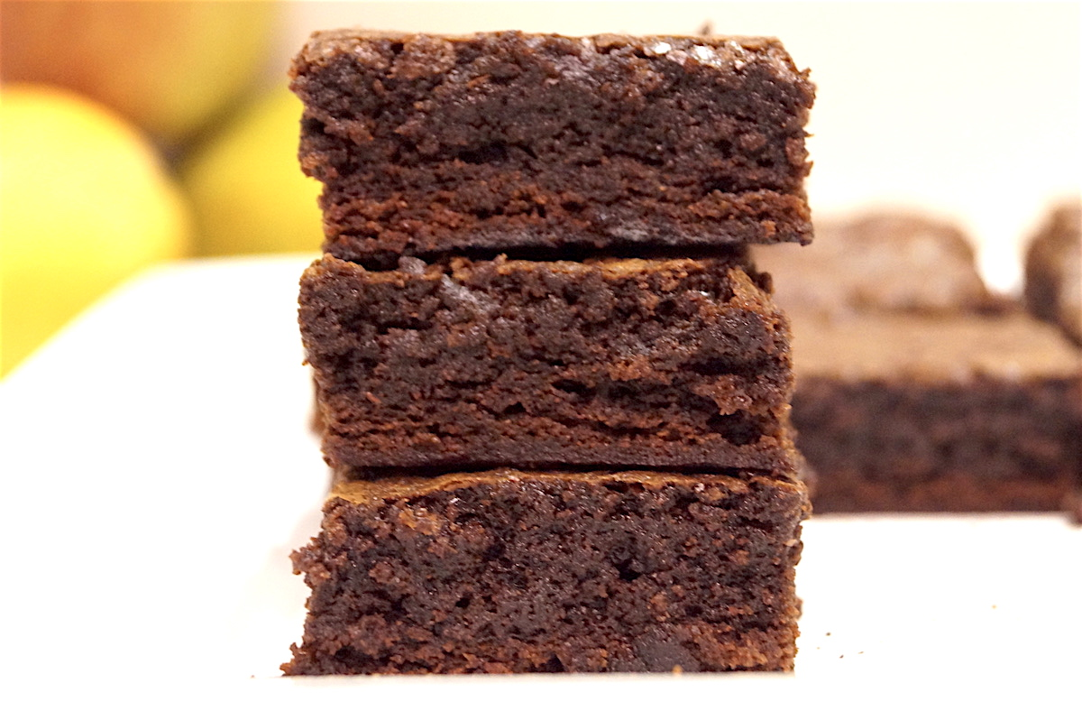 Dark chocolate brownies with a fudge crust and gooey centre